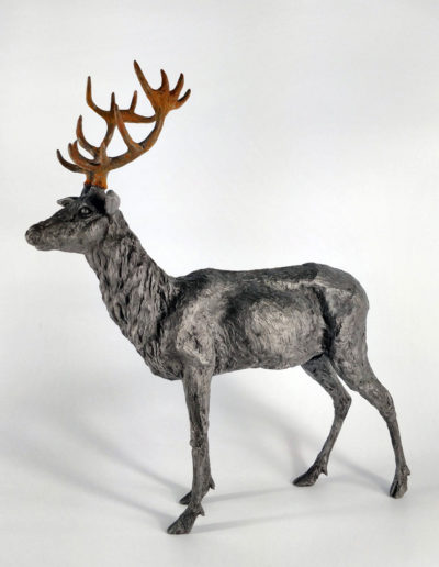 Stag - Iron Resin with Rusted Iron Resin Antlers, Frances Clark, 2018. H35 W30 D10cm, weight 1.5kg approx. (Limited Edition 9/10)