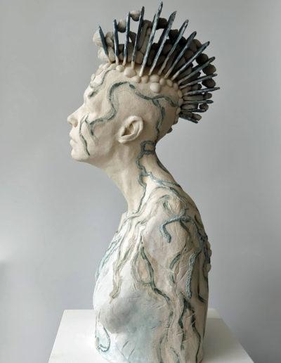 Mixed media sculpture by Frances Clark. Ceramic, stoneware, resin.